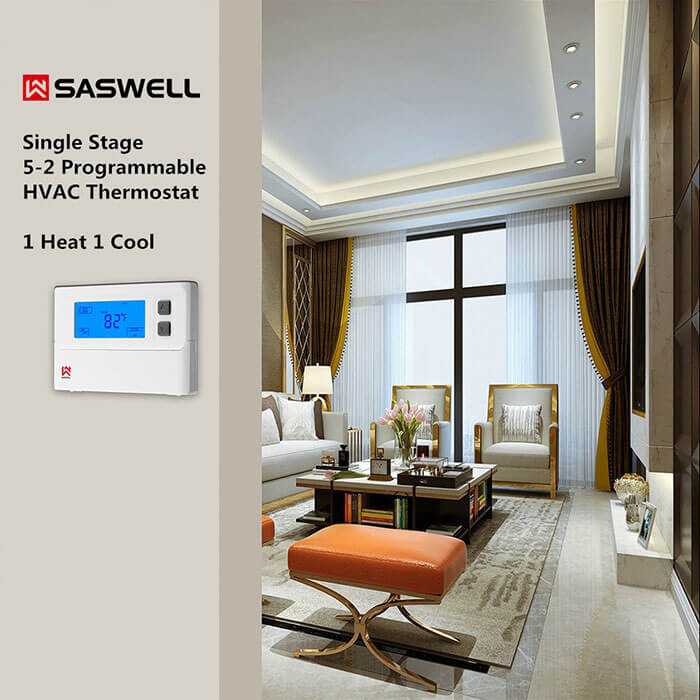 SASWELL Single Stage 5-2 Programmable HVAC Thermostat