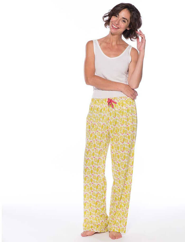 Rock Flower Paper Lemons Yellow Lounge Pants