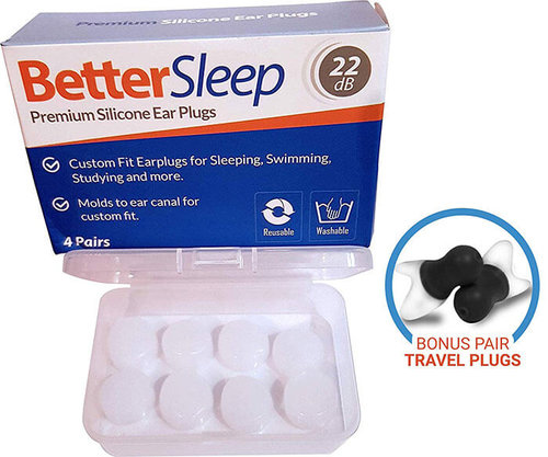 4 Pair of Earplugs for Sleeping Silicone Ear Plugs Noise Cancelling Comfortable Reusable Snoring Swimming and Working Travel Blue