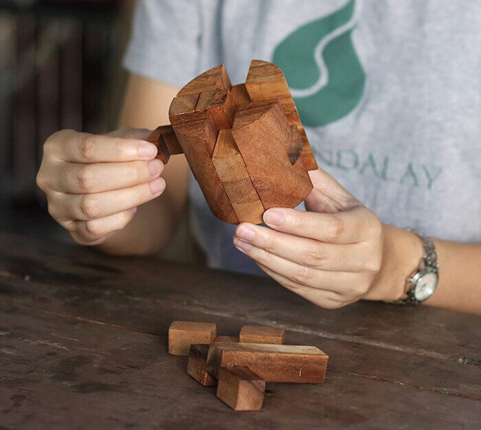 Wooden Puzzles for Adults 3D Cylinder Brain Teasers