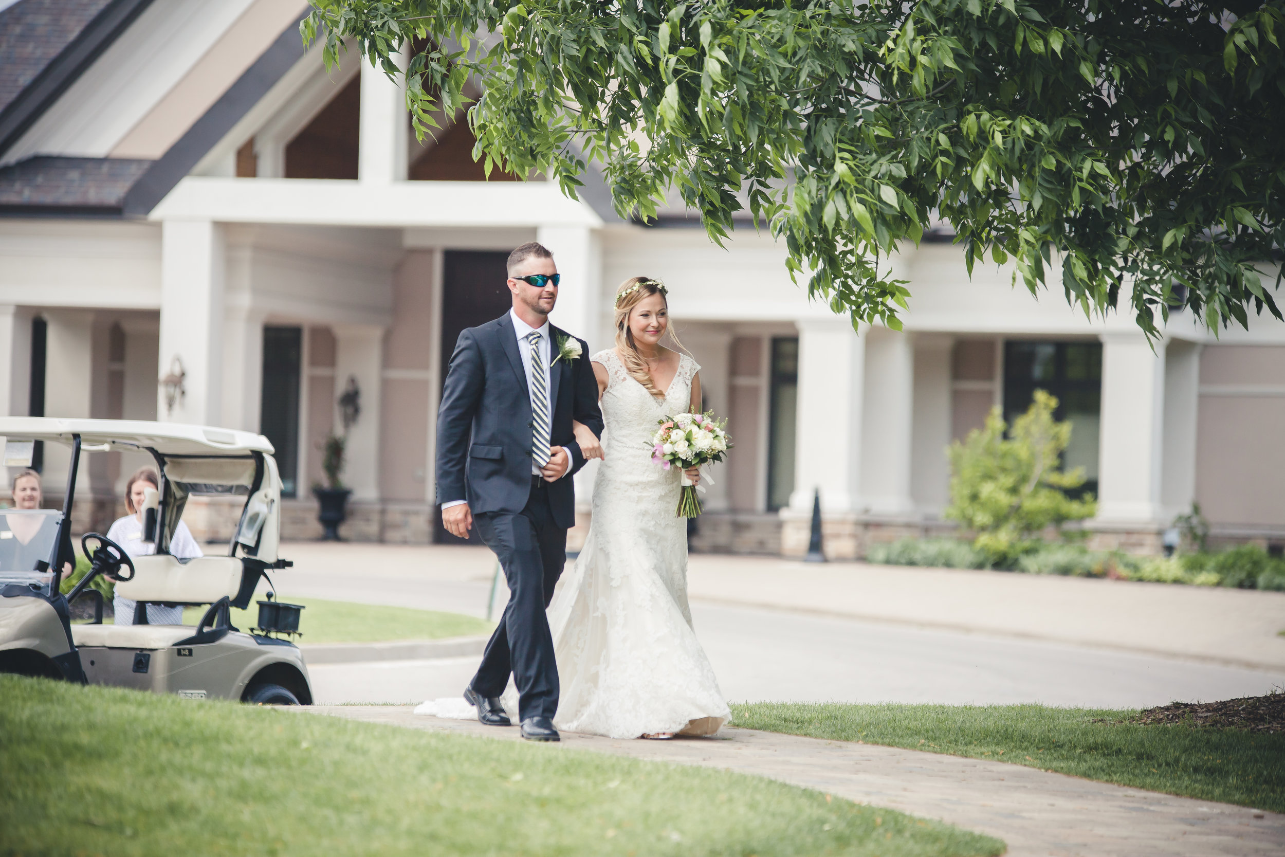 Brother Walking Bride down the aisle. Barrie Country Club Wedding. Barrie & Muskoka Wedding Photography, Beautiful Seagrass and Champagne Wedding