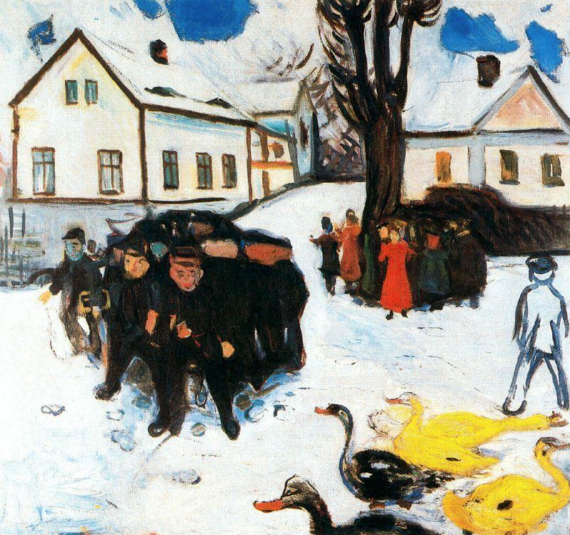 CHILDREN AND DUCKS  Oil on Canvas, 1906 Snow Prediction Score:0.9138168