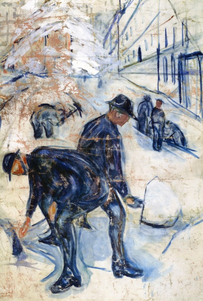 SNOW SHOVELLERS ON THE BUILDING SITE  Oil on Canvas, 1931 Snow Prediction Score:0.88700587