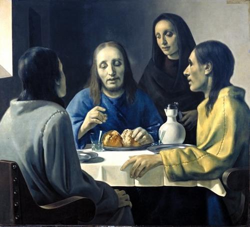 The Supper at Emmaus   Old canvas, relined, 115 x 127 cm. Forged Vermeer by Han van Meegeren Museum Boijmans Van Beuningen, Rotterdam