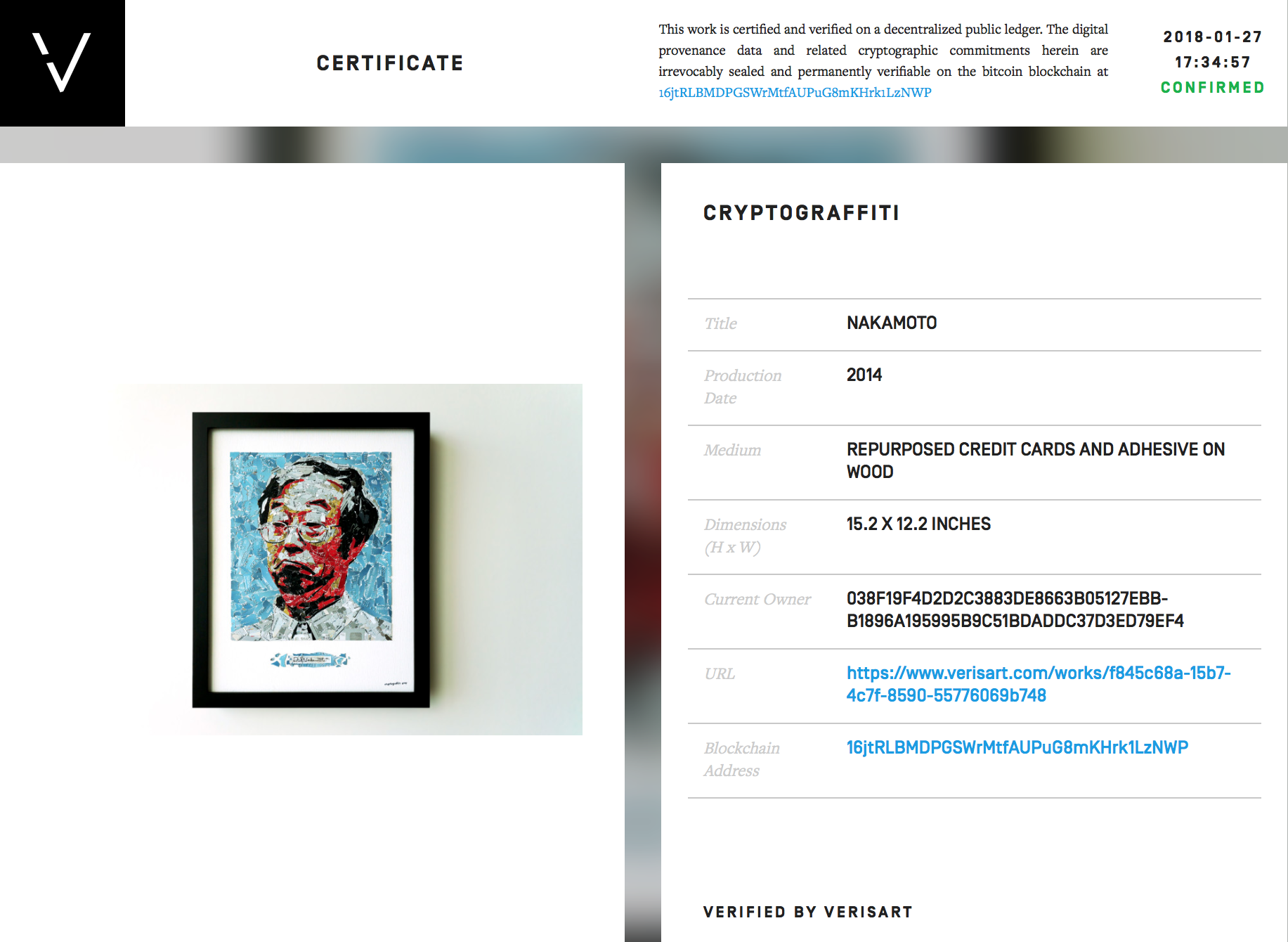 """Blockchain provenance from Verisart for """"Nakamoto"""" by the artist Cryptograffiti"""