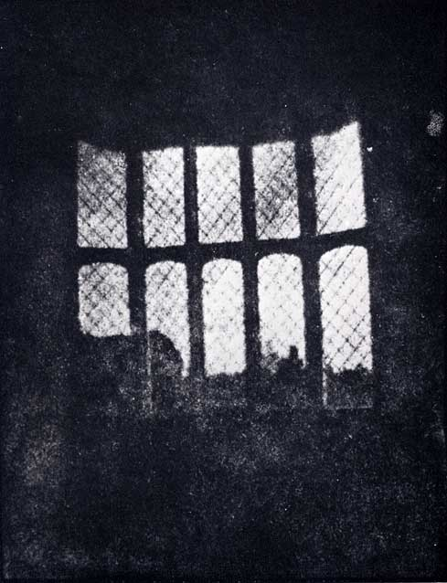 Henry Fox Talbot - August, 1835  Latticed Window at Lacock Abbey  A positive from what may be the oldest existing camera negative.