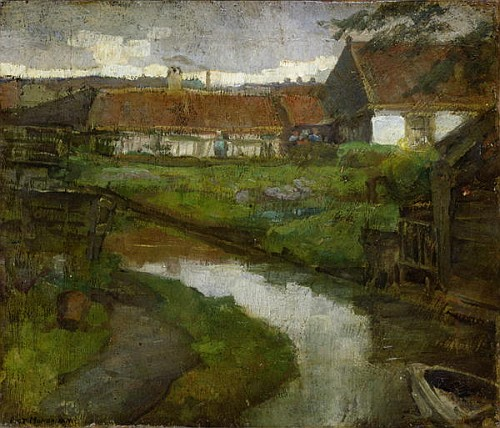 Piet Mondrian  Farmstead and Irrigation Ditch with Prow of Rowboat , 1898 Oil on Canvas mounted on Panel Abstraction Score: 0.4933406639