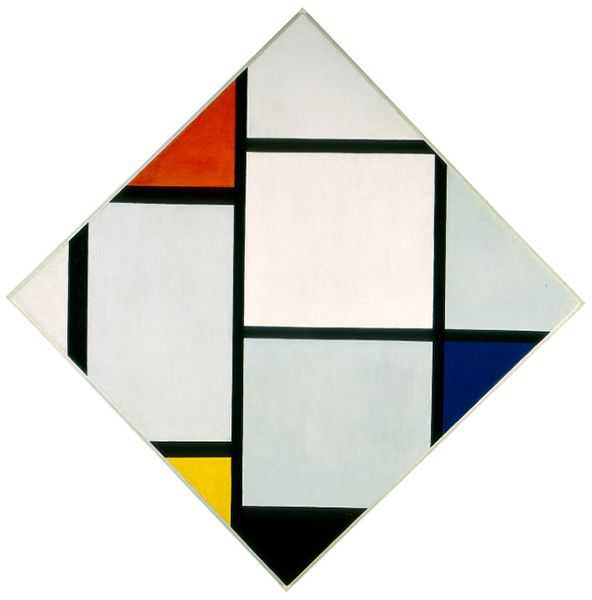 Piet Mondrian  Composition II in Red, Blue, and Yellow , 1930 Oil on Canvas 86 x 66 cm Abstraction Score: 0.2819313946