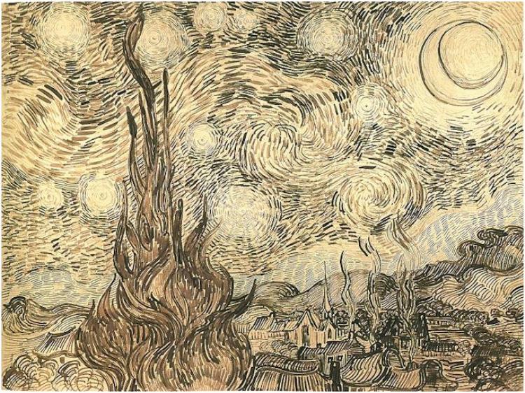 Vincent van Gogh Starry Night. Drawing. Saint-Remy  June, 1889.