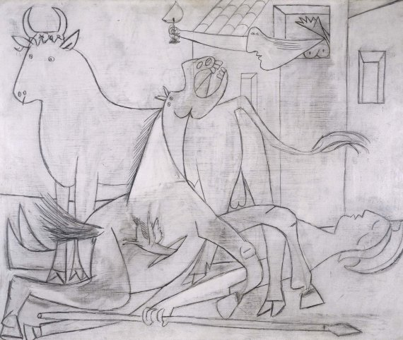 Pablo Picasso Composition Study 5 for Guernica 1937, oil and graphite on plywood