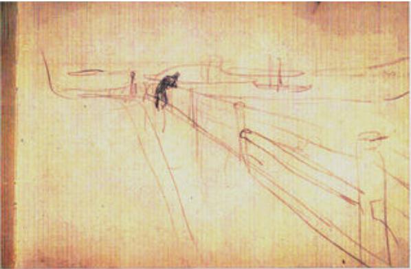Edvard Munch Study c.1891-2. , pencil on paper.