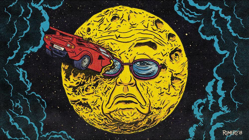 Brian Romero  A Lambo Trip to the Moon.  Limited Edition of 21, Available on the  R.A.R.E. Network .