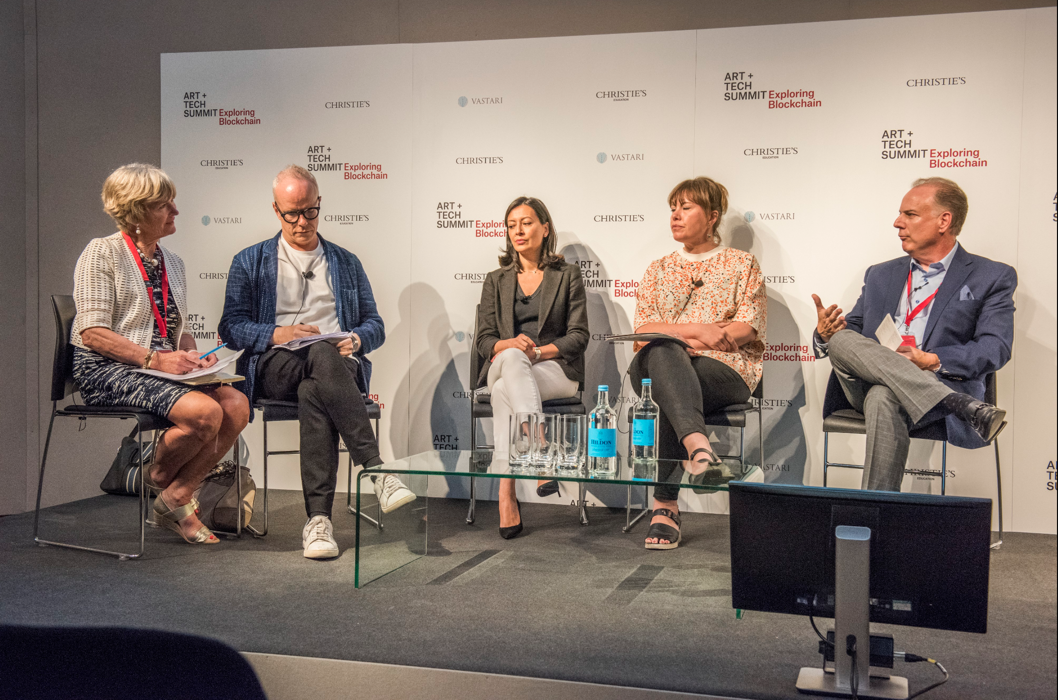 Panel Discussion: Key Take-aways & Reflections – Art Market at Christie's  Art + Tech Summit  in London. From left to right: Georgina Adam, Financial Times and The Art Newspaper - Hans Ulrich Obrist, Serpentine - Sylvie Gleises, AXA Art - Kati Price, Victoria & Albert Museum - Richard Entrup, Christie's