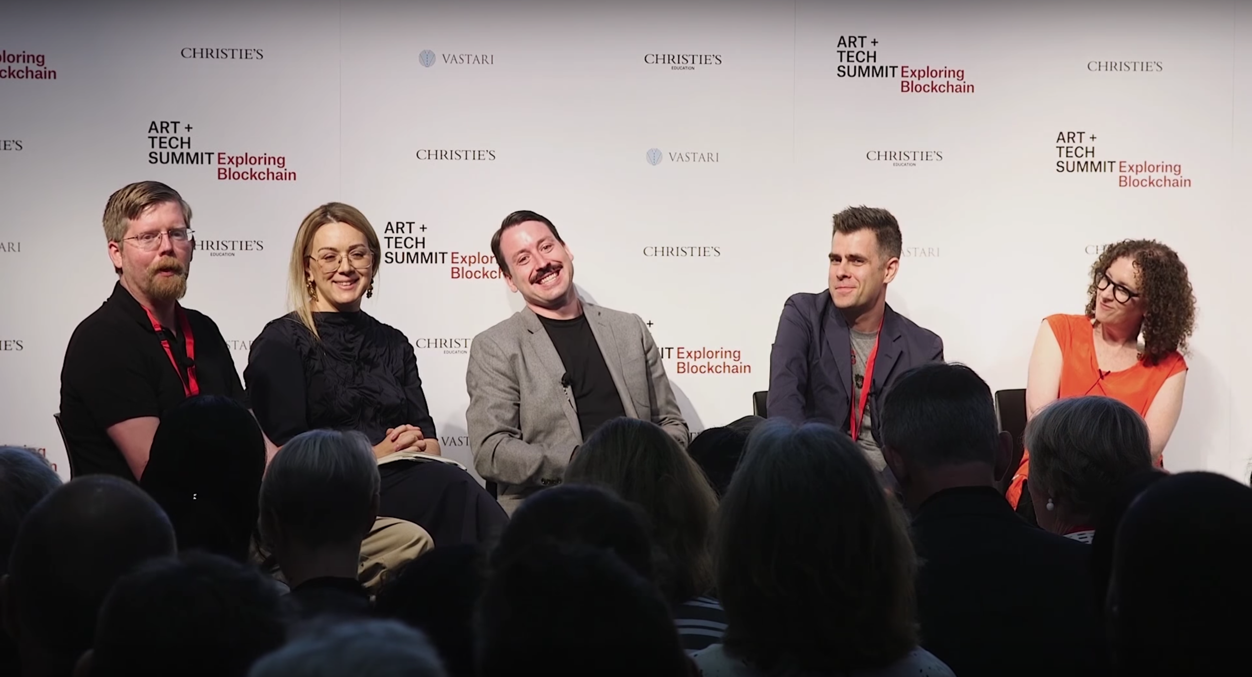 Panel on blockchain and digital art at Christie's  Art + Tech Summit  in London. From left to right: Jason Bailey, Artnome - Masha McConaghy, Ascribe - John Zettler, R.A.R.E. Digital Art Network - Matt Hall, CryptoPunks - Judy Mam, Dada.nyc