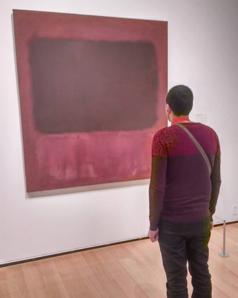 "Stealth photo I took of a man ""twinning"" with Mark Rothko's  x  at The Museum of Fine Art in Boston"