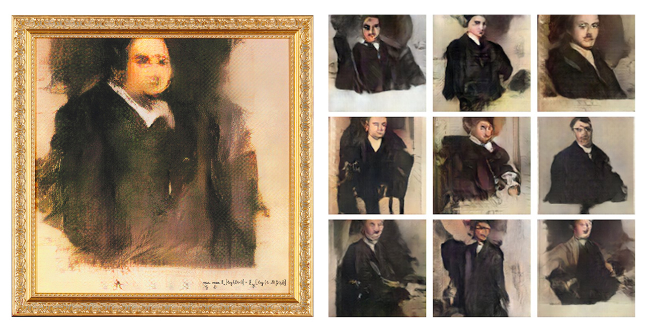 Left:  Portrait of Edmond Belamy,  auctioned off at Christie's for $432,500. Right: outputs from Robbie Barrat's 2017 art-DCGAN project run by Tom White