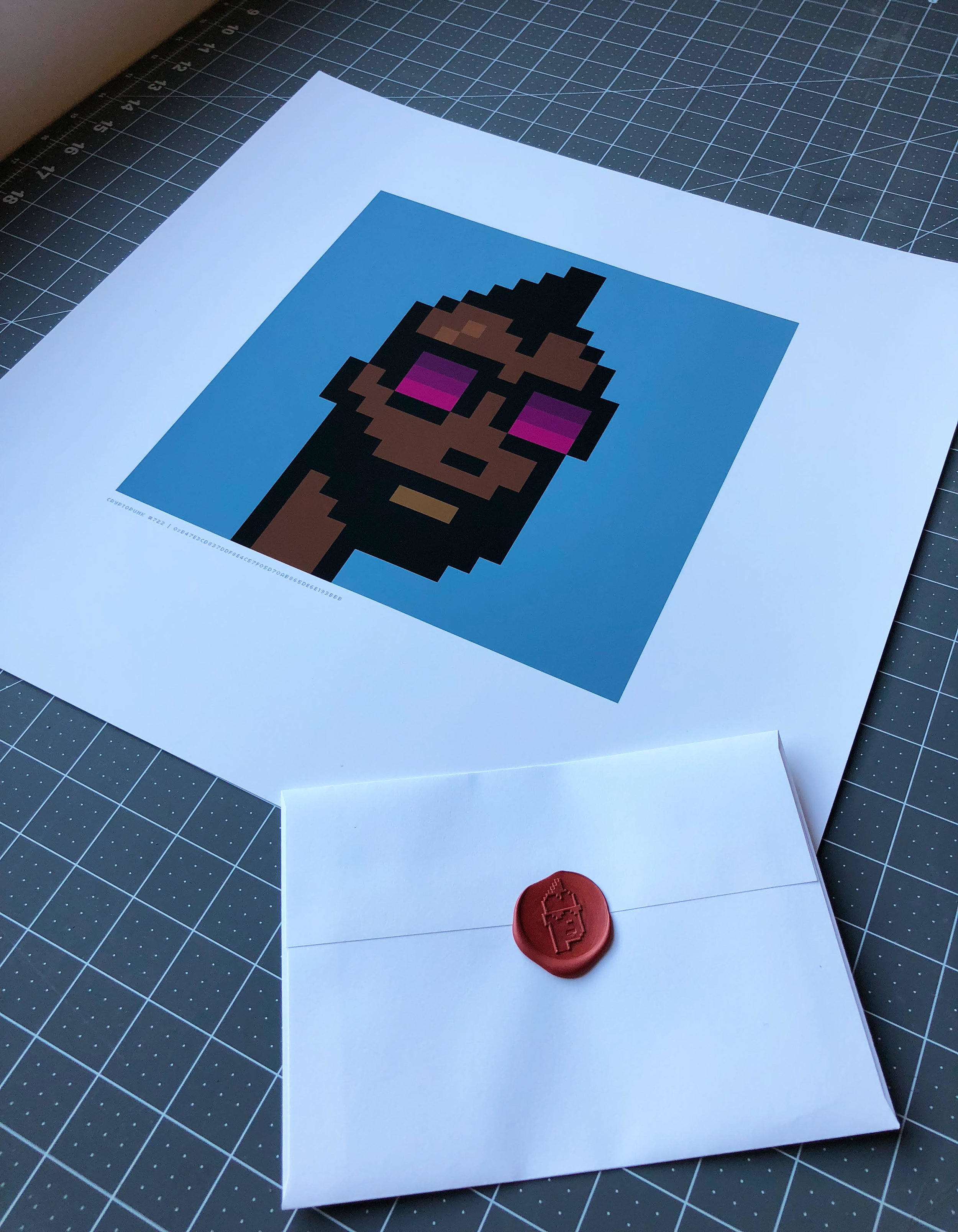 CryptoPunks , printed version with paper wallet and wax seal