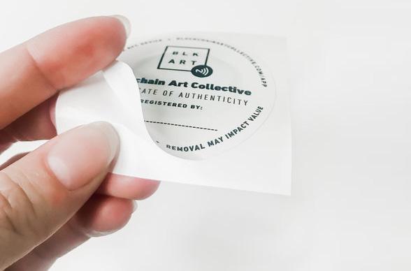 Blockchain Art Collective tagging sticker