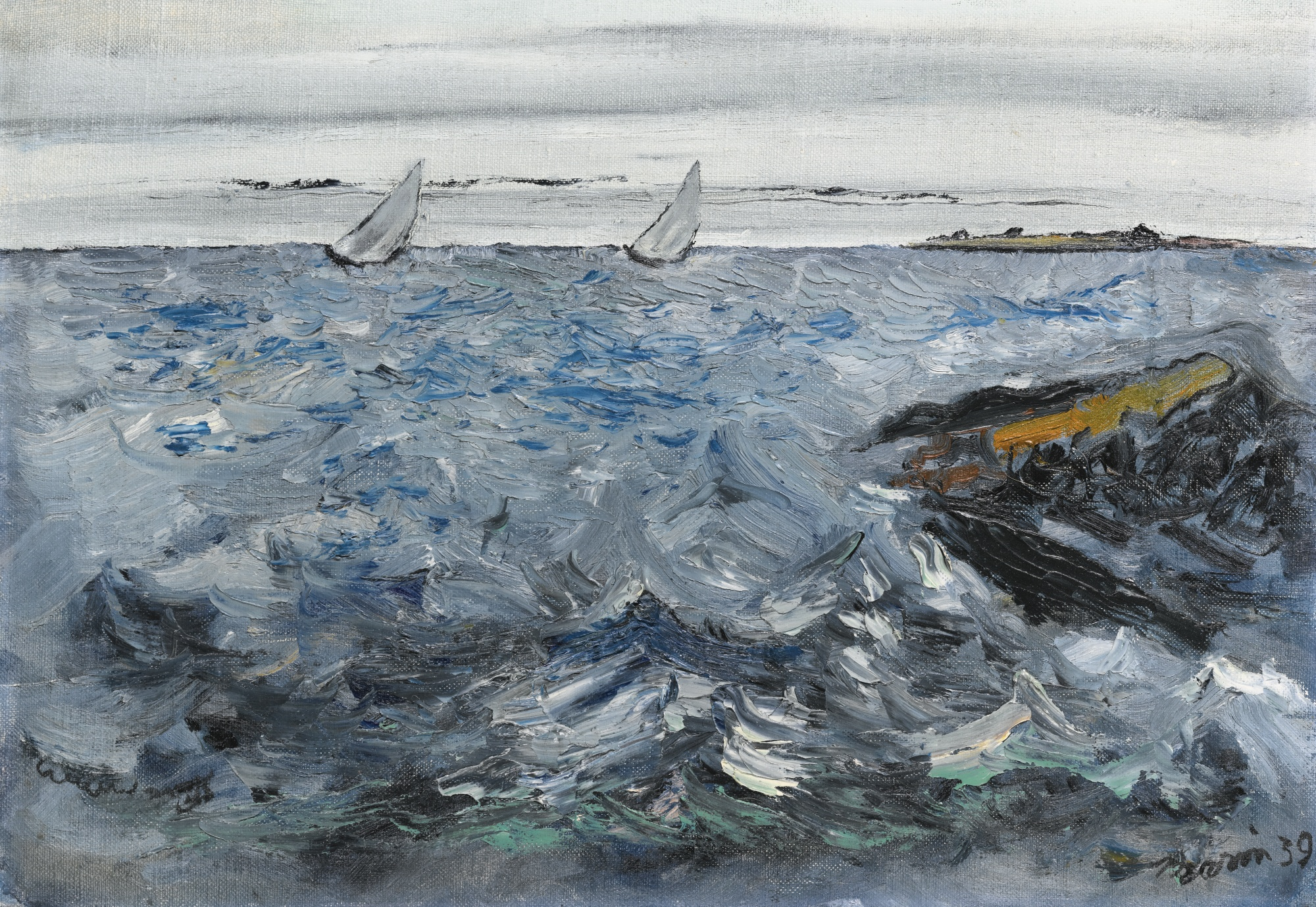 Two Sloops on a Squally Sea , John Marin, 1939