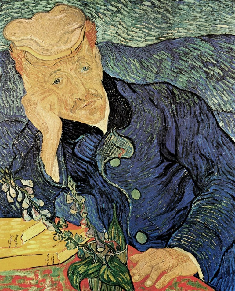 Vincent Van Gogh,  Portrait of Dr. Gachet , 1890 (note the fox glove plant shown in the portrait)