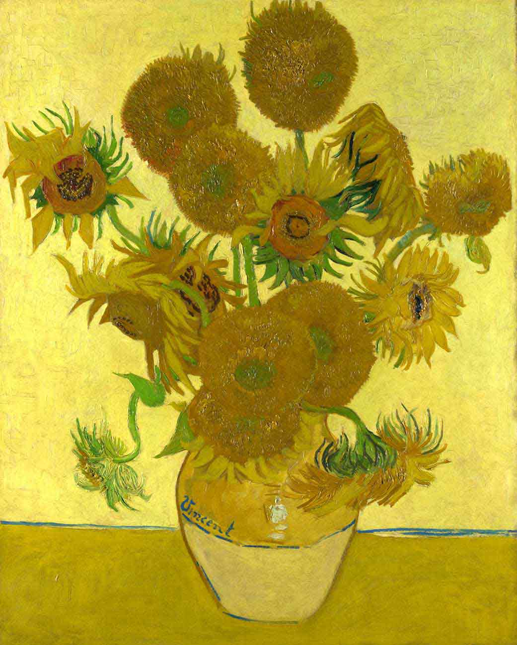Vincent Van Gogh,  Vase with 15 Sun Flowers . 1888