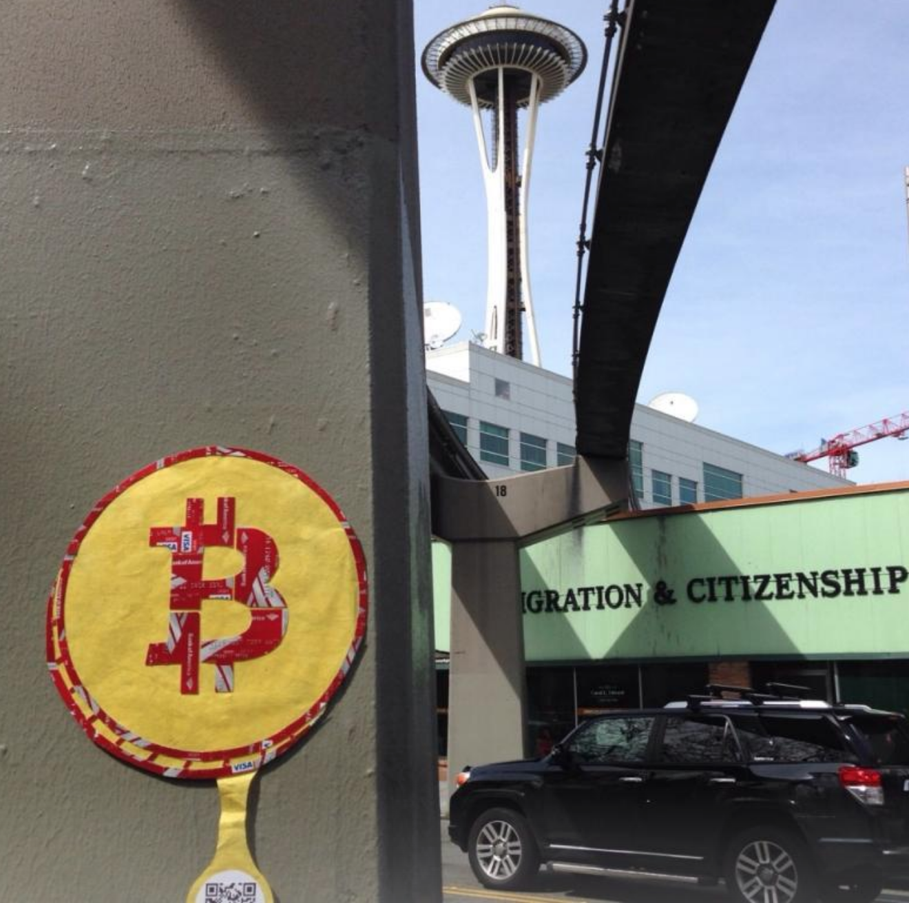Seattle , example of Cryptograffiti's street art made from credit cards and using QR codes to accept tips in Bitcoin