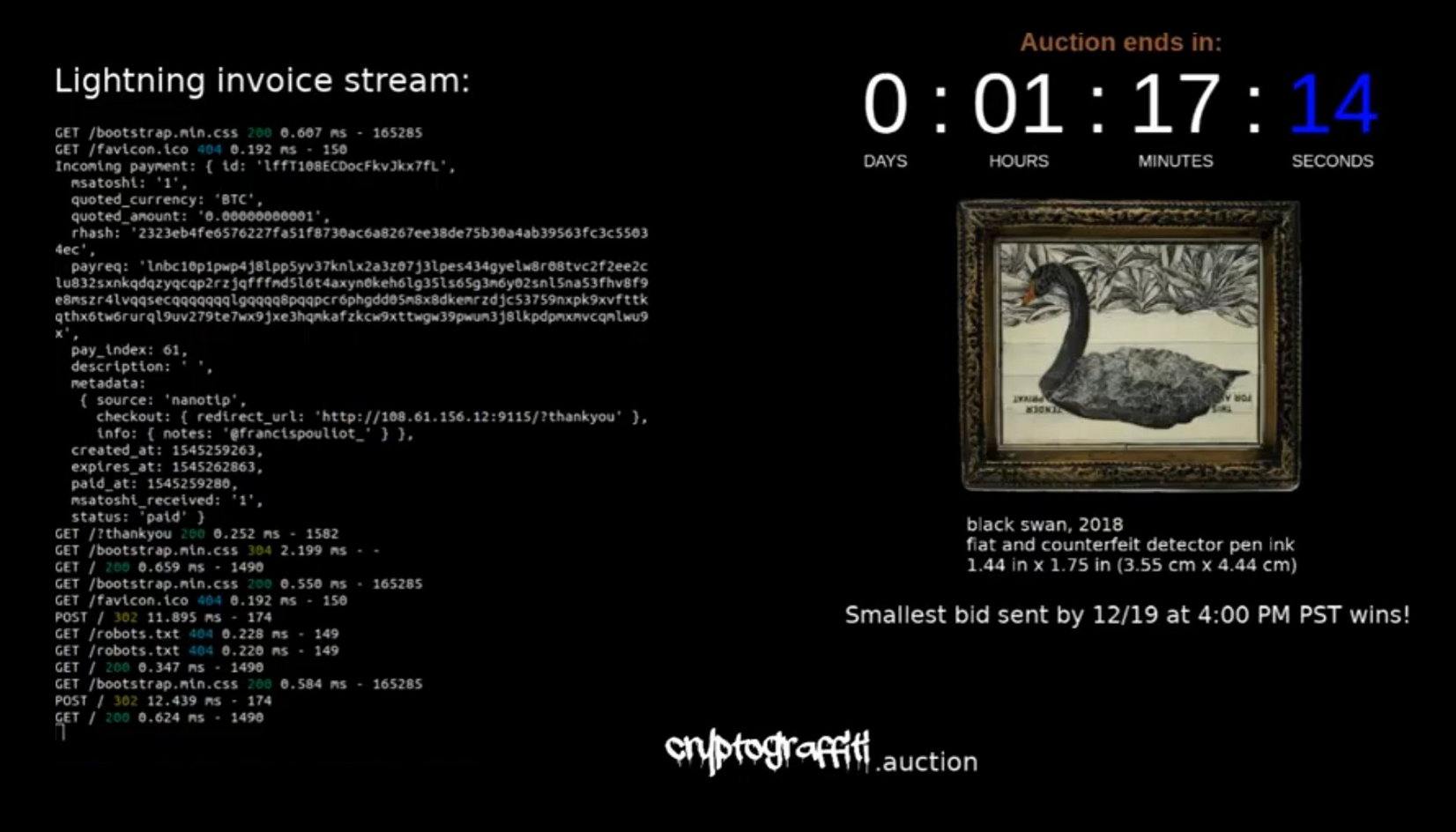 Cryptograffiti's  Black Swan  selling at auction for $0.000000037