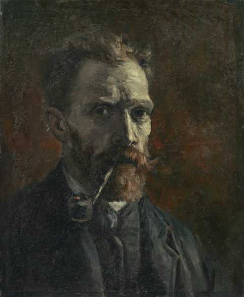 Self-Portrait with Pipe,  Vincent Van Gogh, Paris, 1886