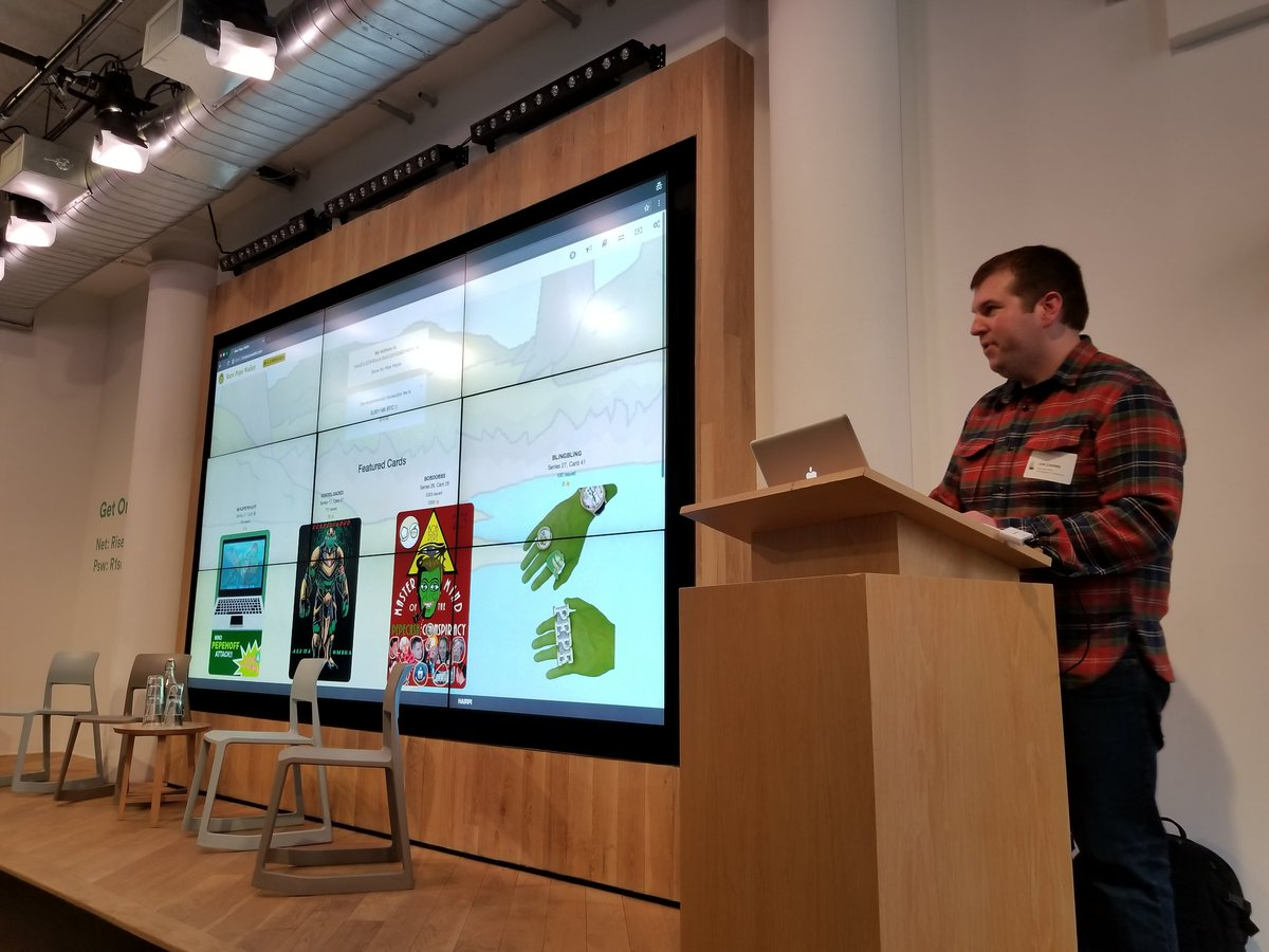 Joe Looney presenting the Rare Pepe Wallet at RareAF, NYC, 2018