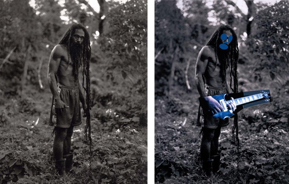 left, one of Patrick Cariou's photographs of Rastafarian's, and at right, a painting from Prince's 'Canal Zone' series