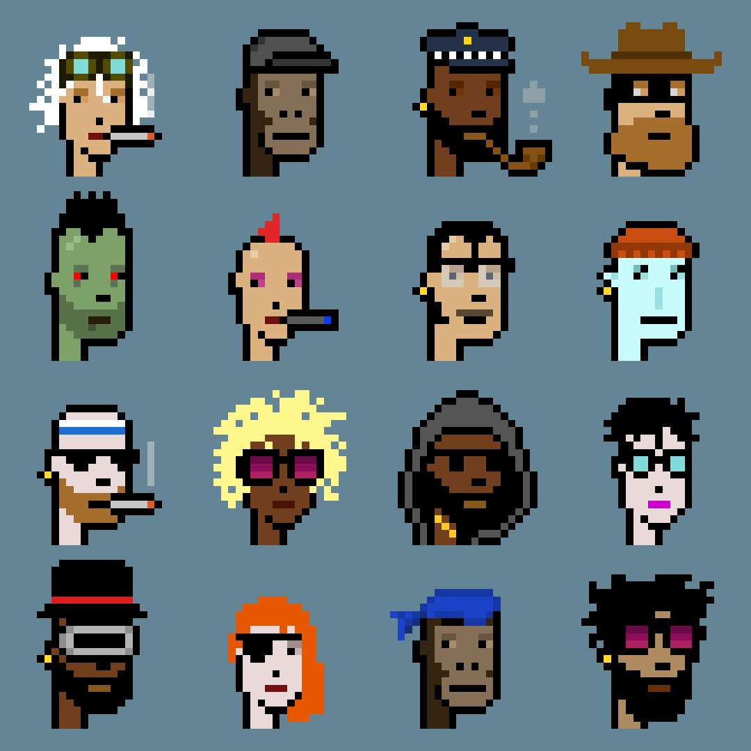 A collection of CryptoPunks