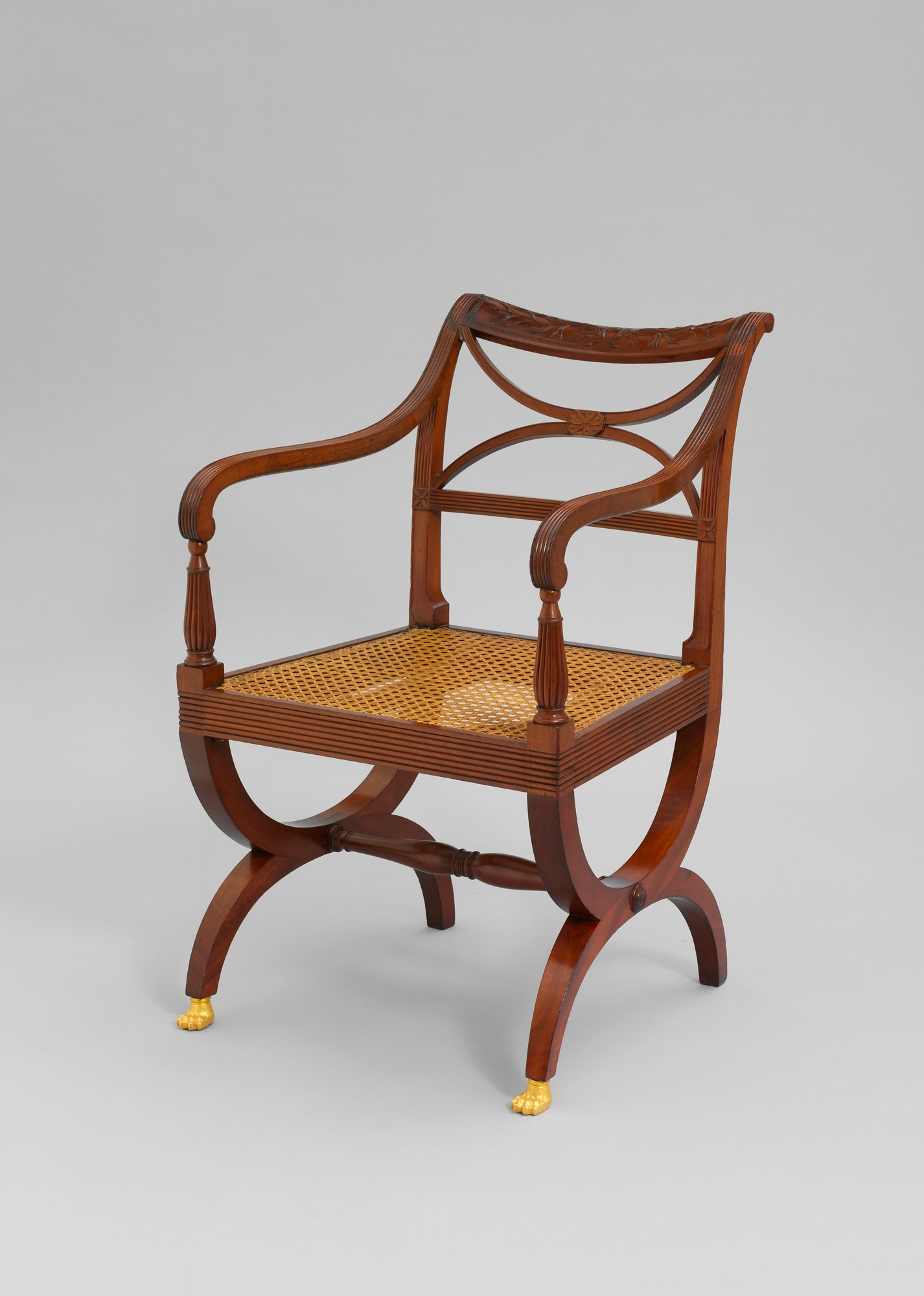 Attributed to Duncan Phyfe (American, born Scottish, 1770–1854).  Armchair . 1810–15. Made in New York, New York. United States. Mahogany and brass. 32 3/4 x 20 7/8 x 17 3/4 in. (83.2 x 53 x 45.1 cm). The Metropolitan Museum of Art. Gift of C. Ruxton Love Jr. 60.4.3.  https://www.metmuseum.org/art/collection/search/268