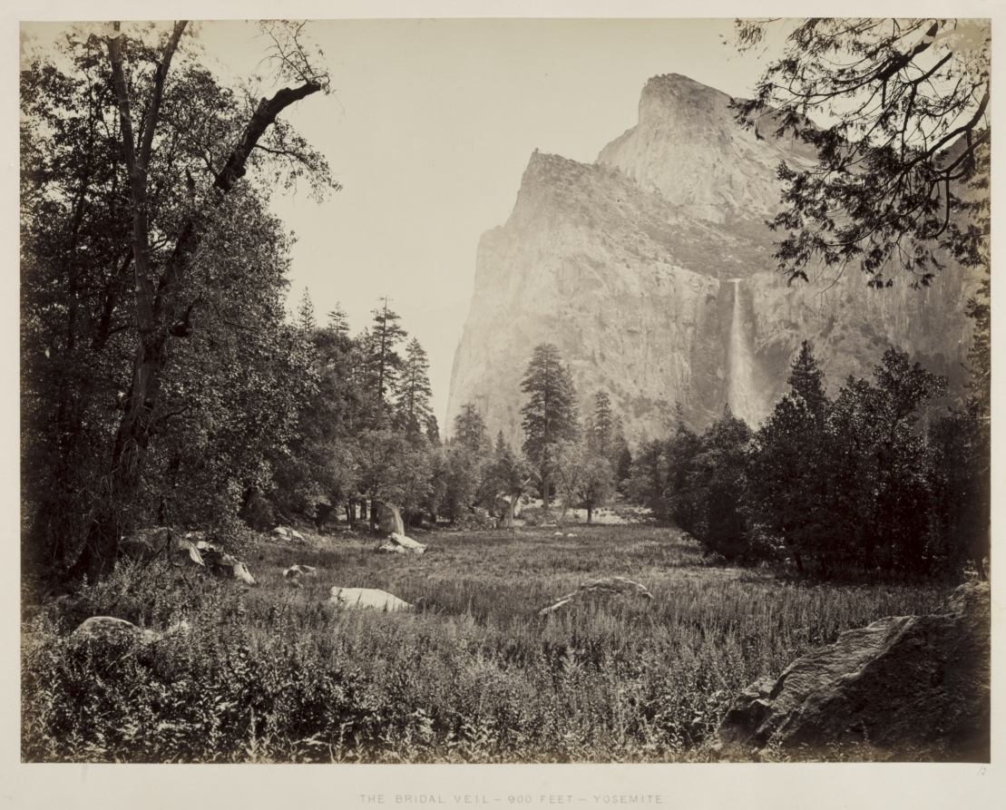 Carleton E. Watkins (American, 1829-1916).  Bridal Veil, Yosemite . c. 1865-1866. Albumen print from wet collodion negative. Image: 40.1 x 52.4 cm (15 13/16 x 20 5/8 in.); Matted: 61 x 76.2 cm (24 x 30 in.). The Cleveland Museum of Art. Andrew R. and Martha Holden Jennings Fund. 1992.12.  http://www.clevelandart.org/art/1992.12
