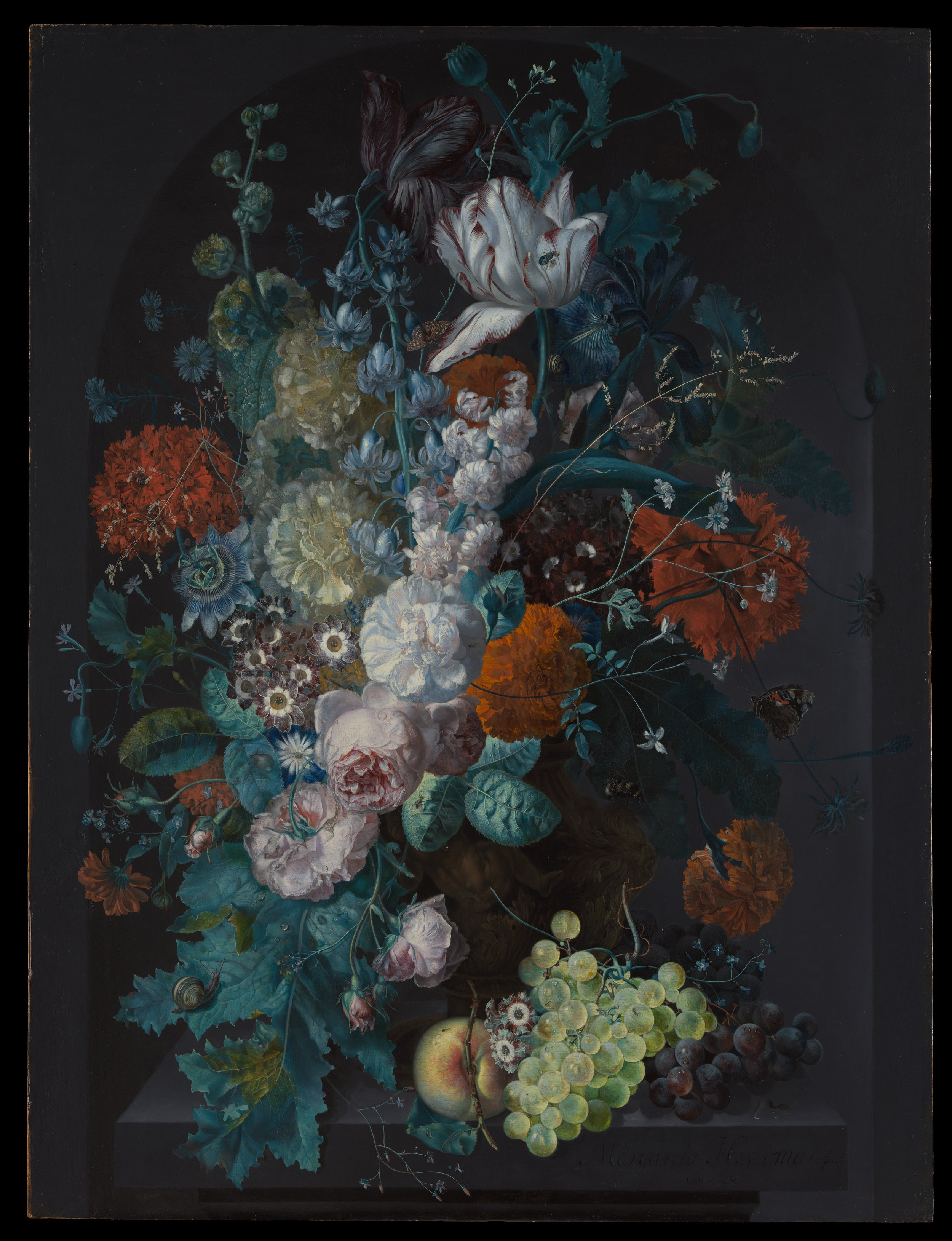 Margareta Haverman (Dutch, Breda 1693–1722 or later).  A Vase of Flowers . 1716. Oil on wood. 31 1/4 x 23 3/4 in. (79.4 x 60.3 cm). The Metropolitan Museum of Art. Purchase. 71.6.  https://www.metmuseum.org/art/collection/search/436634