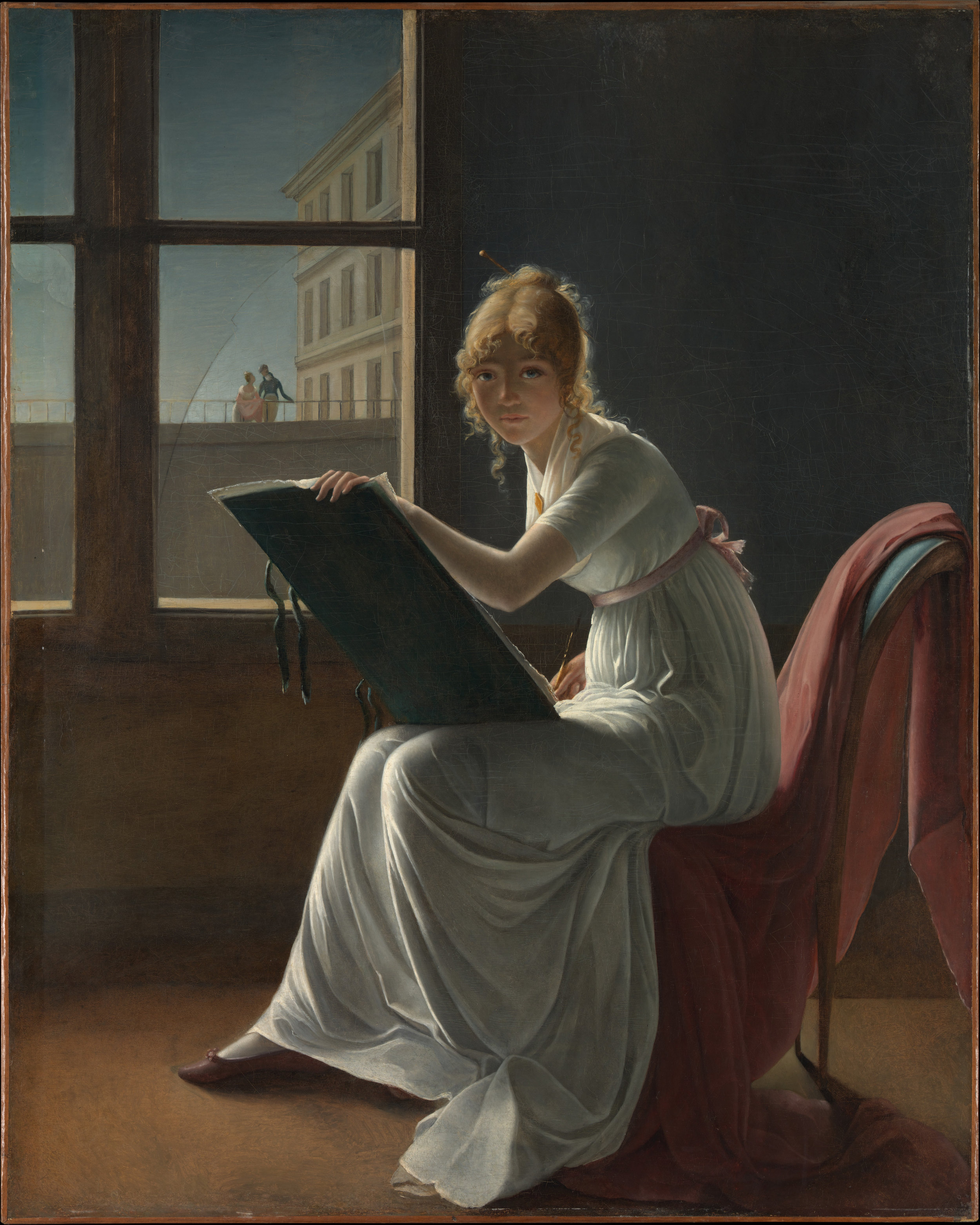 Marie Denise Villers (French, Paris 1774–1821 Paris (?)).  Marie Joséphine Charlotte du Val d'Ognes (1786–1868) . 1801. Oil on canvas. 63 1/2 × 50 5/8 in. (161.3 × 128.6 cm). The Metropolitan Museum of Art. Mr. and Mrs. Isaac D. Fletcher Collection, Bequest of Isaac D. Fletcher. 17.120.204.  https://www.metmuseum.org/art/collection/search/437903