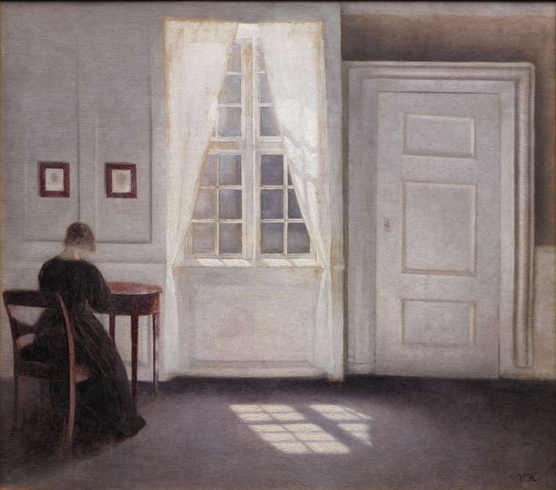 Vilhelm Hammershøi (Danish, 1864-05-15 - 1916-02-13).  Interior in Strandgade, Sunlight on the Floor . 1901. Oil on canvas. 46.5 x 52 cm. The National Gallery of Denmark. The Royal Collection of Paintings and Sculptures. KMS3696.  https://www.smk.dk/en/highlight/stue-i-strandgade-med-solskin-paa-gulvet-1901/