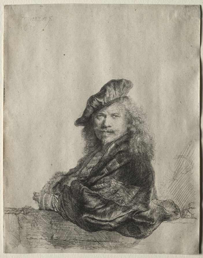 Rembrandt van Rijn (Dutch, 1606-1669).  Self-Portrait Leaning on a Stone Sill . 1639. Etching and drypoint on cream laid paper. Sheet: 20.6 x 16.3 cm (8 1/8 x 6 7/16 in.); Platemark: 20.4 x 16.1 cm (8 1/16 x 6 5/16 in.). The Cleveland Museum of Art. Bequest of Mrs. Severance A. Millikin. 1989.244.  http://www.clevelandart.org/art/1989.244