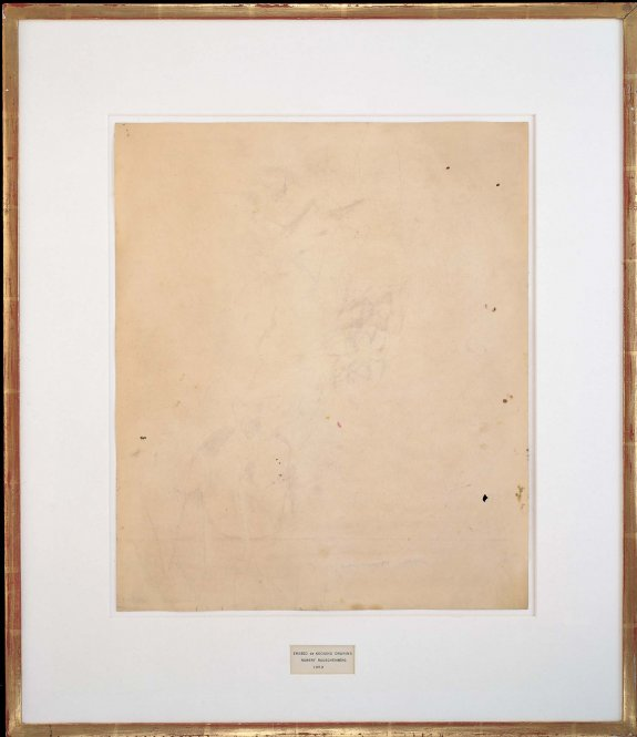 Traces of ink and crayon on paper, with mat and hand-lettered label in ink, in gold-leafed frame  25 1/4 x 21 3/4 x 1/2 inches (64.1 x 55.2 x 1.3 cm)