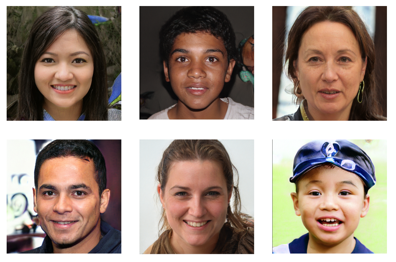 Series of people who do not actually exist created using GANs -  https://www.thispersondoesnotexist.com/