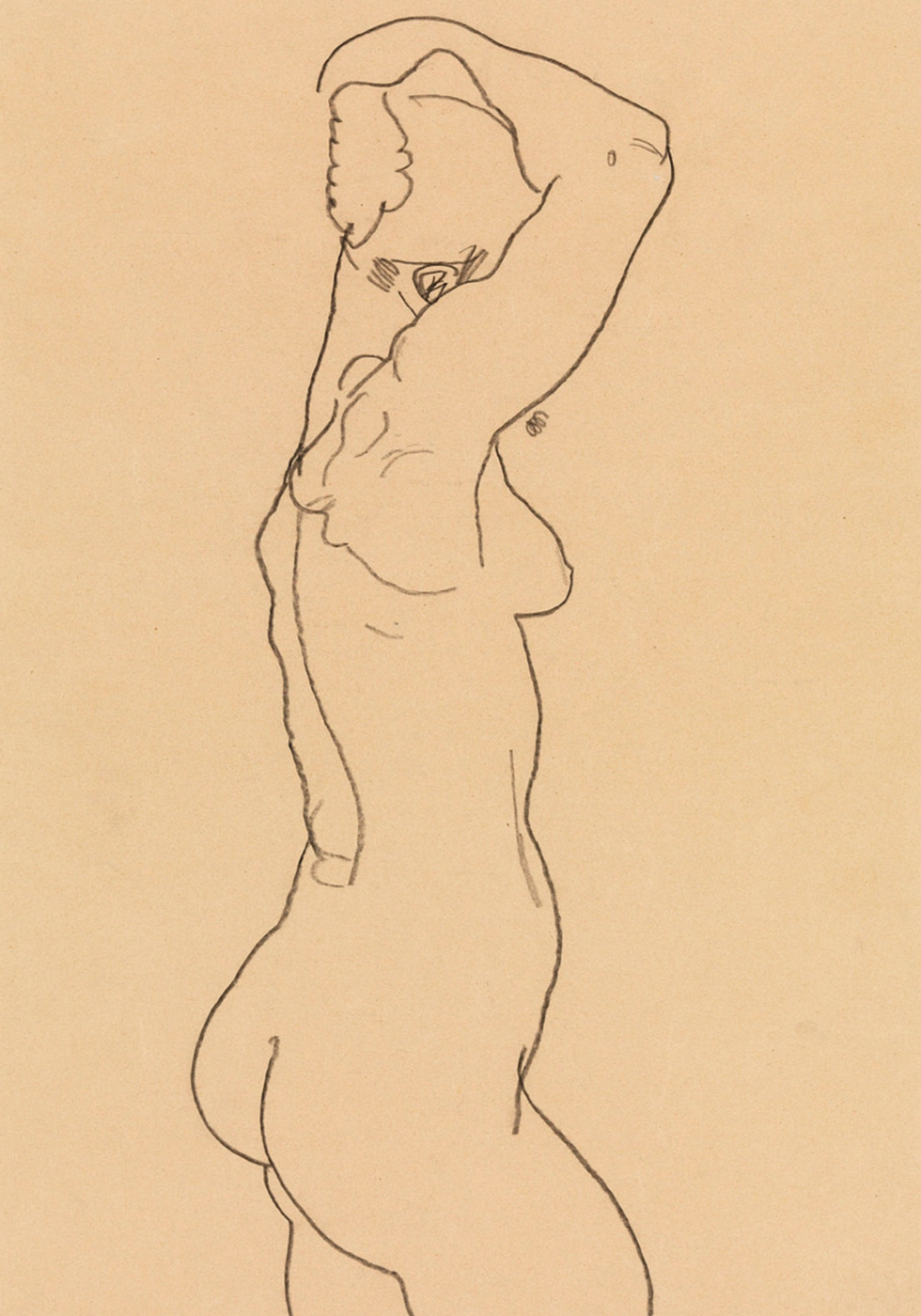 Standing Nude Facing Right,  1918, Egon Shiele