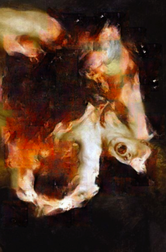 Robbie Barrat,  Correction of Rubens: Saturn Devouring His Son   Fixed image on a screen