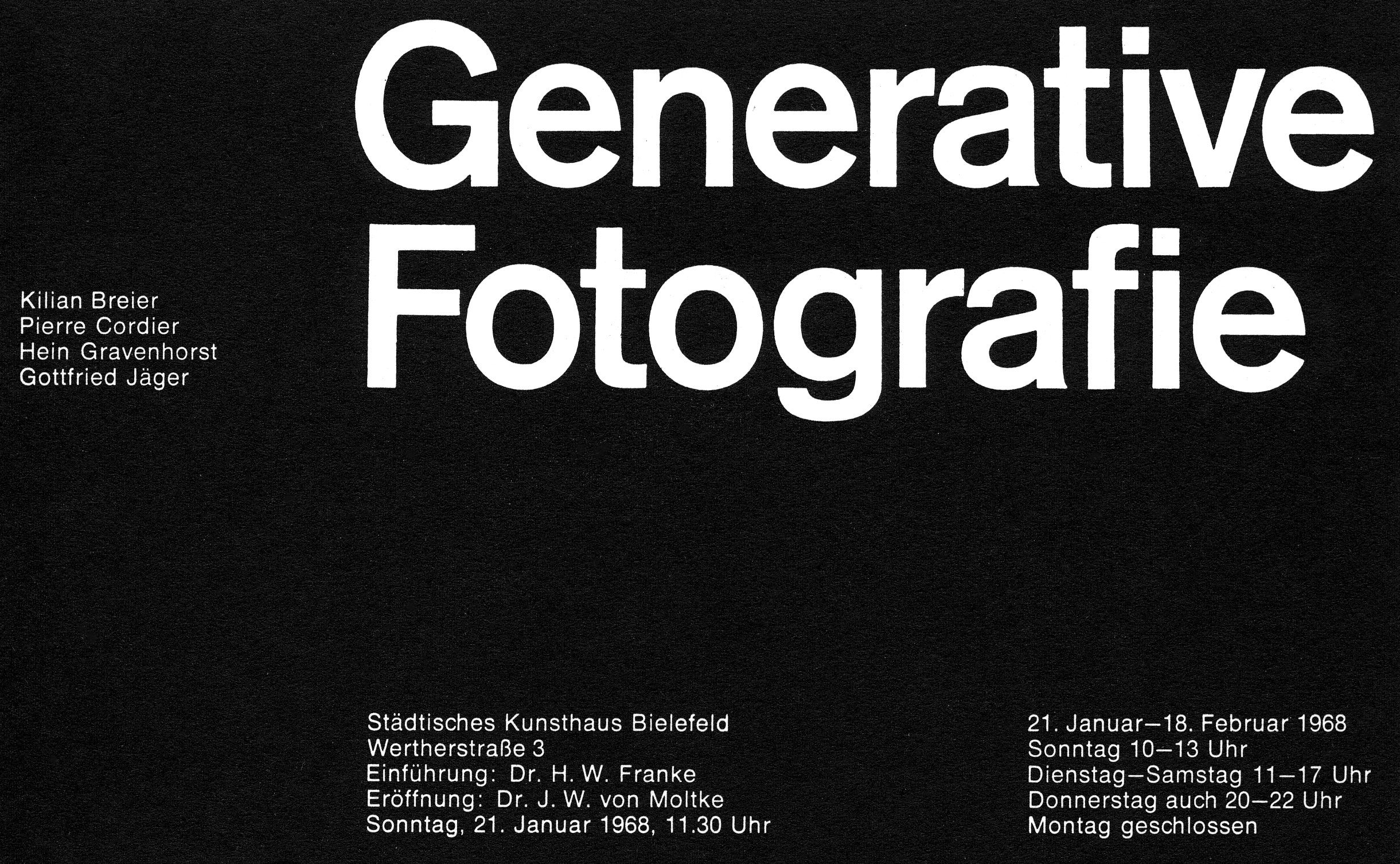Generative Fotografie , invitation card for the exhibition at Kunsthaus Bielefeld, 1968, designed by Heinz Baier