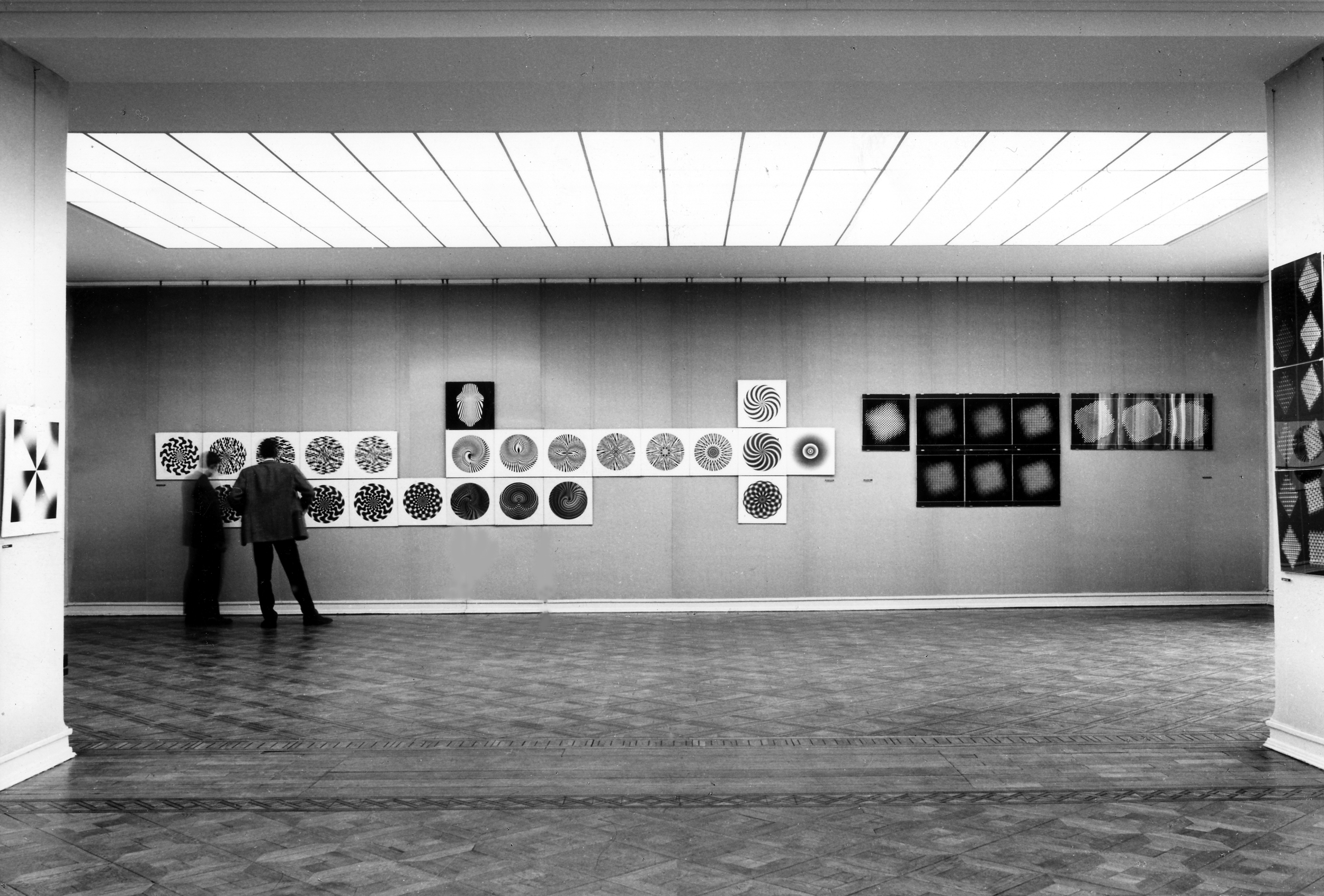 Exhibition view of  Generative Fotografie  at Kunsthaus Bielefeld, 1968; included works by Kilian Breier (l.), Pierre Cordier, Hein Gravenhorst (l.) and Gottfried Jäger (r.; curator); catalogue text by Herbert W. Franke