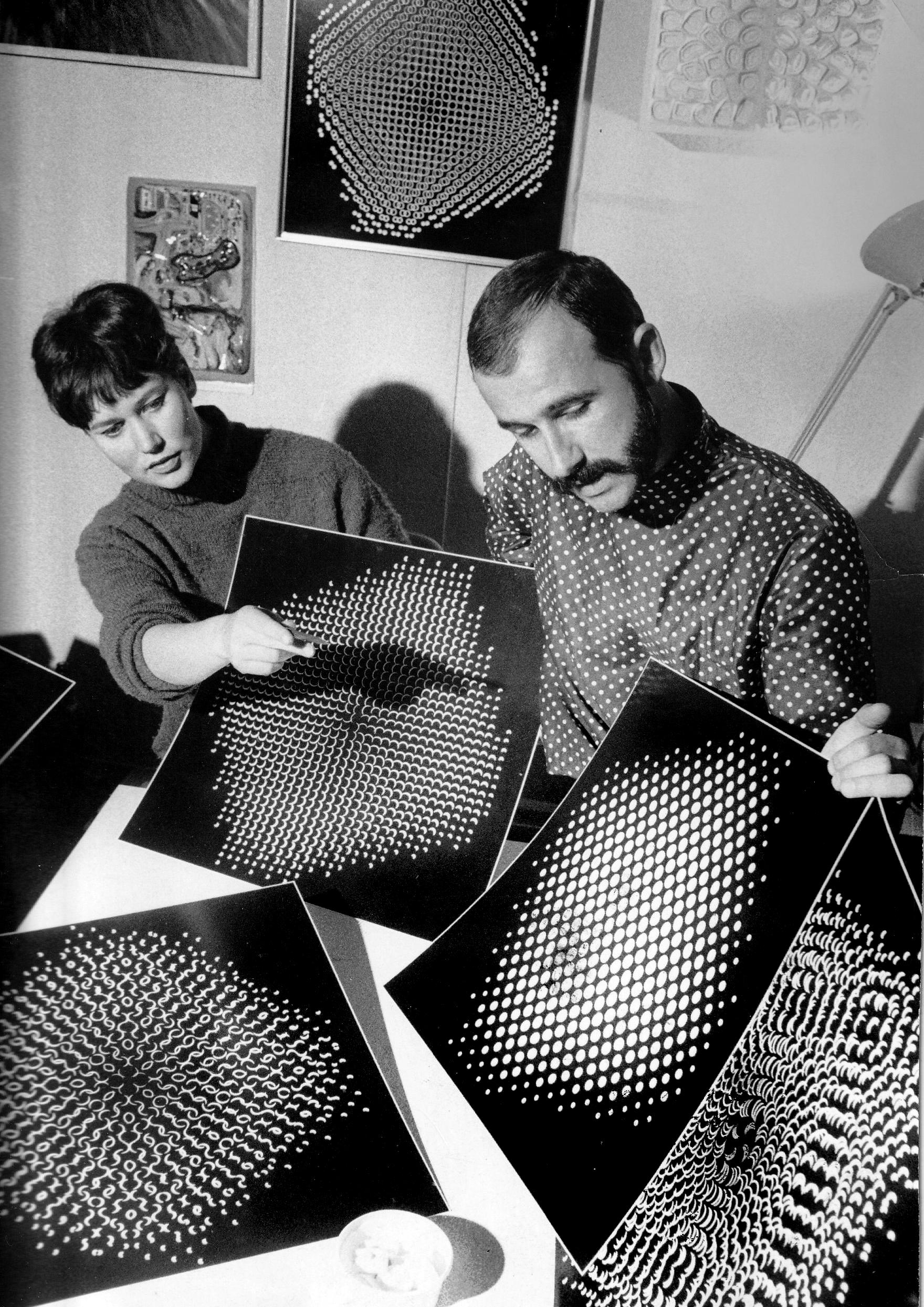 "Ursel and Gottfried Jäger with ""pinhole structures"" (Lochblendenstrukturen), 1967, from the exhibition  Generative Fotografie ; photograph by Günter Rudolf, 1968"