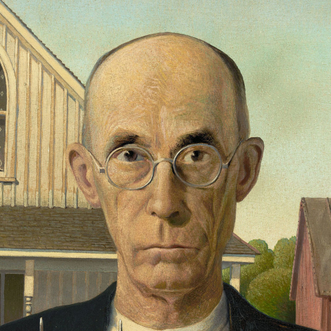 Grant Wood, detail from  American Gothic  - 1930