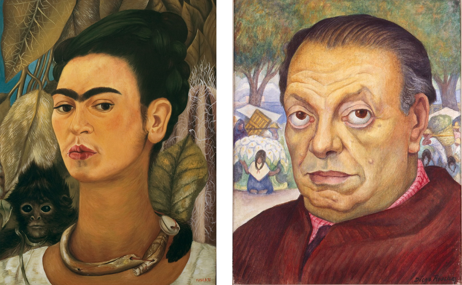 Left: Frida Kahlo,  Self-Portrait with Monkey  - 1938 ;  Right; Diego Rivera,  Self-Portrait  - 1949