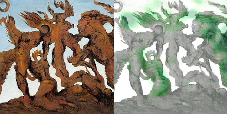 Left:  La Horde , Beltracchi fake in the style of Max Ernst. Right: heat map highlighting areas suggesting forgery