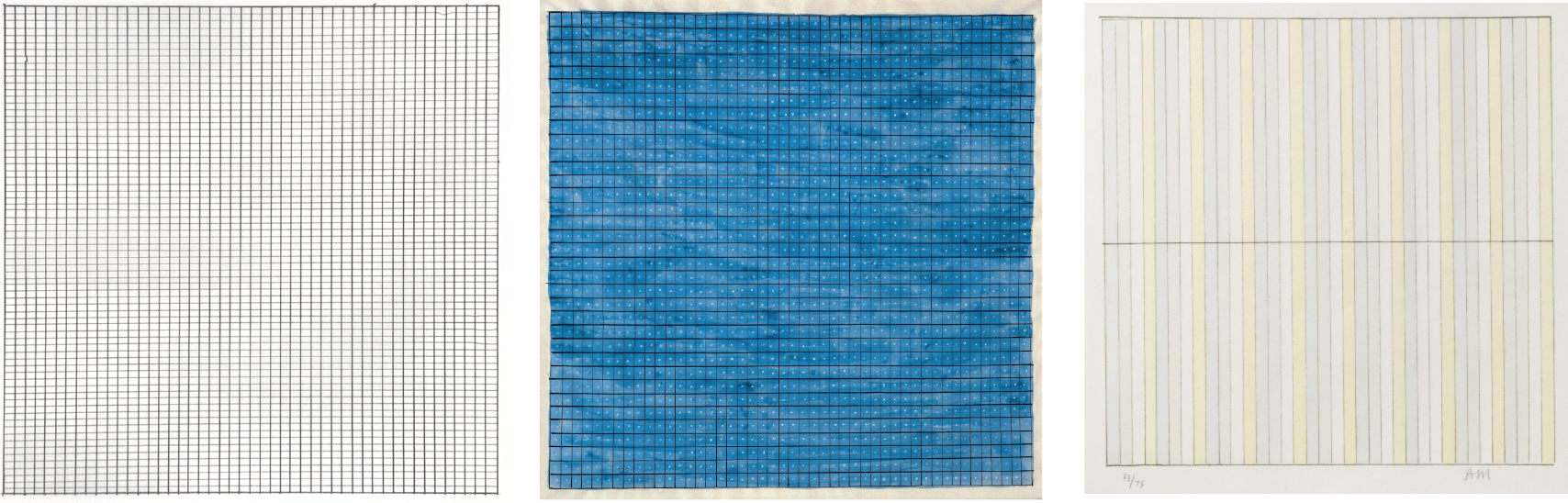 Examples of abstract paintings by Agnes Martin