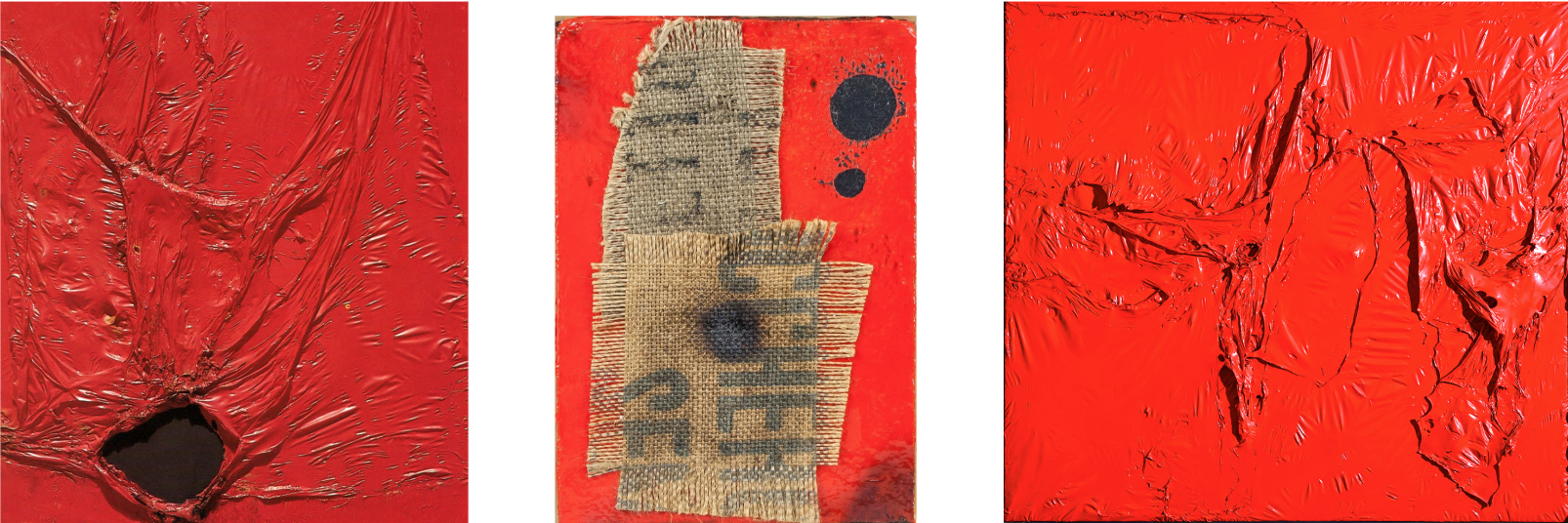 Examples of abstract paintings by Alberto Burri