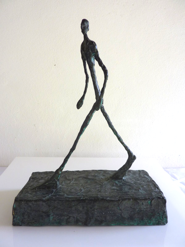 Sculpture in the style of Alberto Giocometti, created and signed by Robert J.C. Driessen